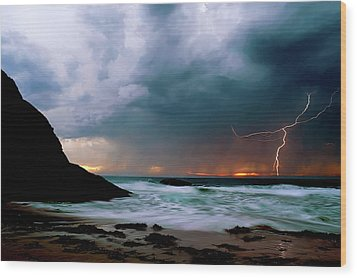 Lightning Strike Off Dana Point California Wood Print