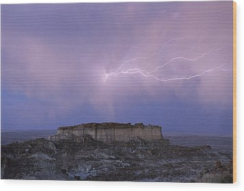 Lightning Strikes Above A Butte Wood Print by Joel Sartore
