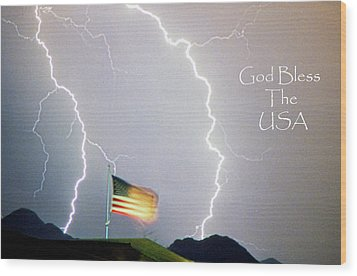 Lightning Strikes God Bless The Usa Wood Print by James BO  Insogna