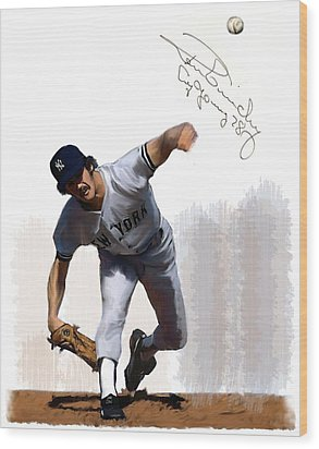 Wood Print featuring the painting Lightning Strikes Ron Guidry by Iconic Images Art Gallery David Pucciarelli
