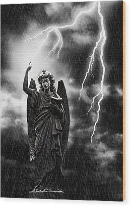 Lightning Strikes The Angel Gabriel Wood Print by Amanda Elwell