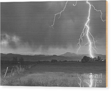Lightning Striking Longs Peak Foothills 5bw Wood Print by James BO  Insogna