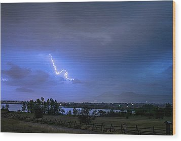 Wood Print featuring the photograph Lightning Striking Over Boulder Reservoir by James BO Insogna