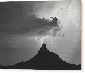 Lightning Striking Pinnacle Peak Arizona Wood Print by James BO  Insogna
