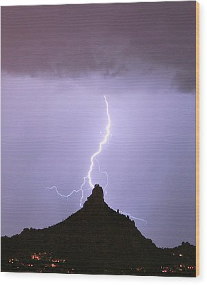 Lightning Striking Pinnacle Peak Scottsdale Az Wood Print by James BO  Insogna