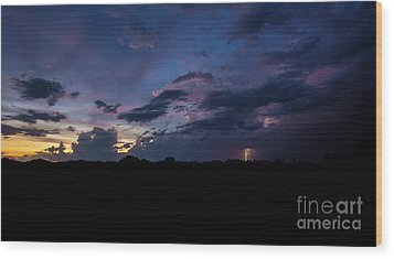 Wood Print featuring the photograph Lightning Sunset by Brian Jones