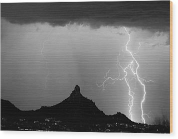Lightning Thunderstorm At Pinnacle Peak Bw Wood Print