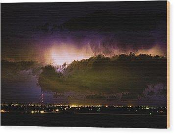 Lightning Thunderstorm Cloud Burst Wood Print by James BO  Insogna