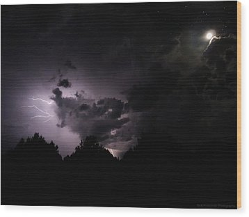 Lightning With Stars And Moon  Wood Print by Todd Krasovetz