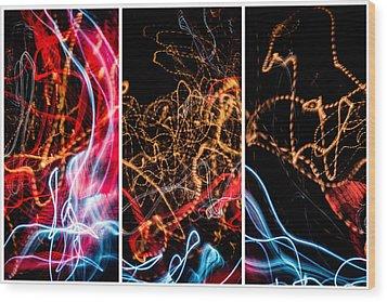 Lightpainting Triptych Wall Art Print Photograph 5 Wood Print