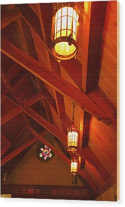 Lights And Beams Wood Print by Steven Ainsworth