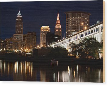Lights In Cleveland Ohio Wood Print
