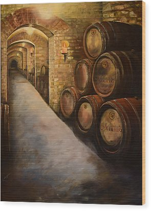 Lights In The Wine Cellar - Chateau Meichtry Vineyard Wood Print