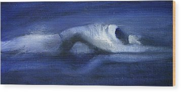 Wood Print featuring the painting Like A Dolphin by Jarmo Korhonen aka Jarko