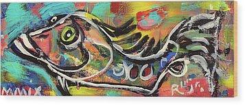 Lil Funky Folk Fish Number Eleven Wood Print by Robert Wolverton Jr