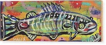 Lil' Funky Folk Fish Number Ten Wood Print by Robert Wolverton Jr