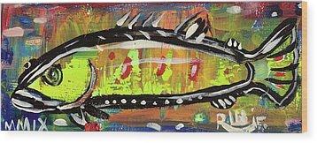 Lil Funky Folk Fish Number Twelve Wood Print by Robert Wolverton Jr