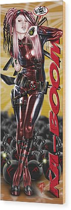 Lil Miss Deadpool Wood Print by Pete Tapang