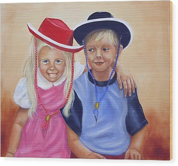 Lil Pardners Wood Print by Joni McPherson