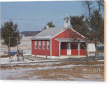 Lil Red School House Wood Print by Robert Sander