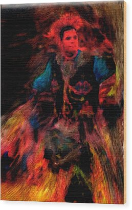 Lila Wakan Dancin For A Better World Wood Print by FeatherStone Studio Julie A Miller