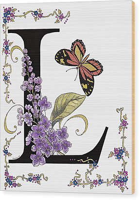 Lilac And Large Tiger Butterfly Wood Print