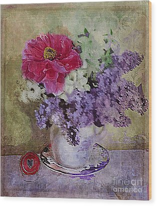 Wood Print featuring the digital art Lilac Bouquet by Alexis Rotella