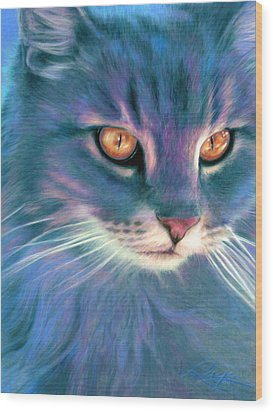 Lilac Cat Wood Print by Ragen Mendenhall