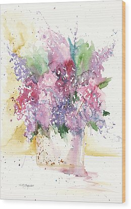 Wood Print featuring the painting Lilac Explosion by Sandra Strohschein