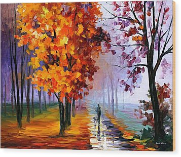 Lilac Fog Wood Print by Leonid Afremov