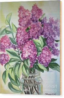 Wood Print featuring the painting Lilac On The Kitchen Table by Inese Poga