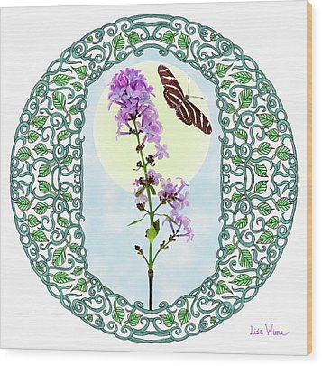 Wood Print featuring the digital art Lilac With Butterfly by Lise Winne