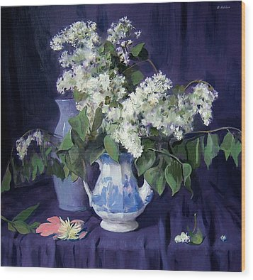 Lilacs And Blue Wood Print