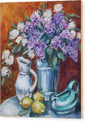 Lilacs And Lemons Wood Print by Sheila Tajima