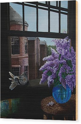 Lilacs In Blue Vase Wood Print by Kathleen Romana