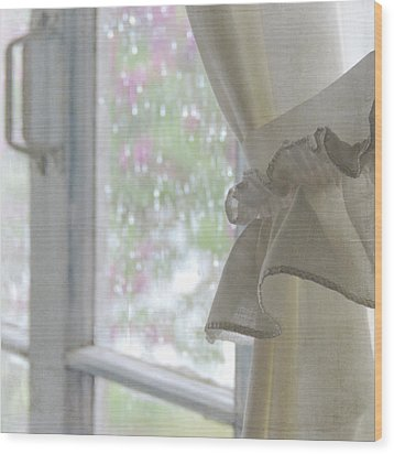 Wood Print featuring the photograph Lilacs In The Rain by Sally Banfill