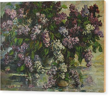 Wood Print featuring the painting Lilacs by Tigran Ghulyan