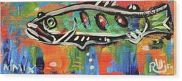 Lil'funky Folk Fish Number Fifteen Wood Print by Robert Wolverton Jr