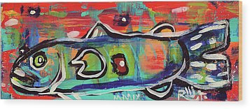 Lil'funky Folk Fish Number Seventeen Wood Print by Robert Wolverton Jr