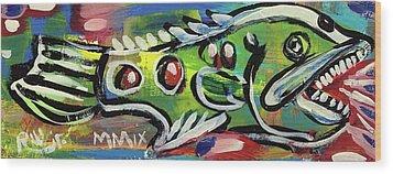 Lil'funky Folk Fish Number Thirteen Wood Print by Robert Wolverton Jr