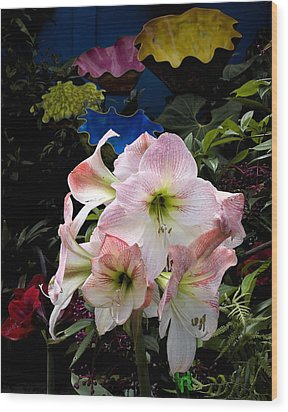 Lilies And Glass Wood Print by Stephen Mack