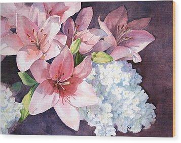 Lilies And Hydrangeas - II Wood Print by Vikki Bouffard