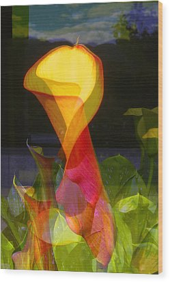 Lilies Wood Print by Eileen Shahbazian