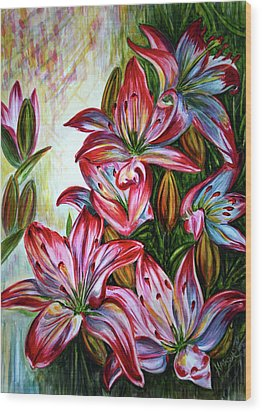 Wood Print featuring the painting Lilies by Harsh Malik