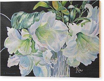 Lilies-in-milan Wood Print by Nancy Newman