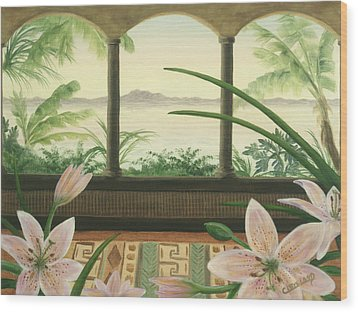 Lilies In Paradise Wood Print by Cathy Cleveland