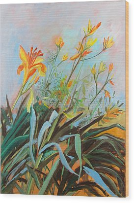 Wood Print featuring the painting Lilies Of The Field by Betty Pieper