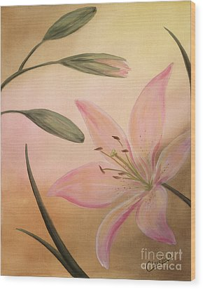 Lilies Part 2 Wood Print by Cathy Cleveland