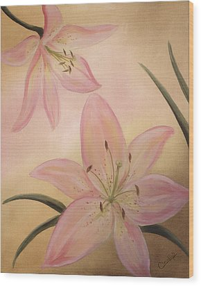 Lilies Part1 Wood Print by Cathy Cleveland