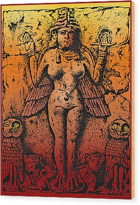 Lilith Goddess Of Death Queen Of The Night Wood Print by Larry Butterworth